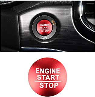 PIFOOG 汽车内饰配件吉普发动机配件开始停止按钮盖无钥匙点火按钮保护金属贴纸适用于大切诺基罗盘切诺基红