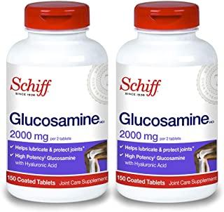 Schiff 旭福 氨基葡萄糖与透明质酸关节护理补充剂,2000毫克葡萄糖胺,有助于润滑和保护关节*,150支(2包)