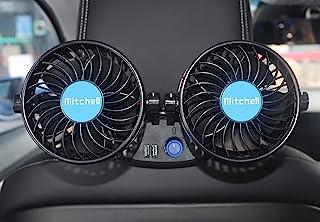 12 伏 汽车风扇 后座乘客 便携式汽车座椅风扇头枕 360° 可旋转后座冷却风扇 带 2 个 USB 充电端口和点烟器插头 适用于车辆、SUV、RV、船只