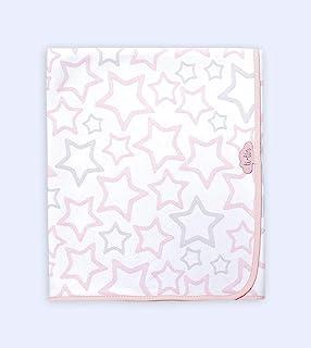 Ti TIN - 柔软吸水婴儿毯,80 x 75 厘米   * 纯棉婴儿毯,双层织物,婴儿车,婴儿车,婴儿座椅等,星星星主题,粉红色