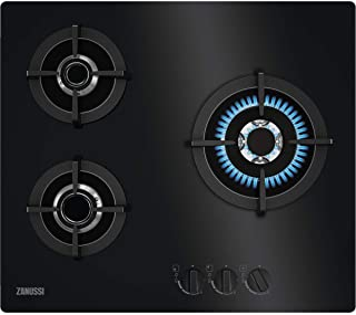 Zanussi ZGO68330BA 燃气灶,60厘米,3个灯头,前置控制,炒锅燃烧器,电子自点火,铸铁,*隔热元件,黑色