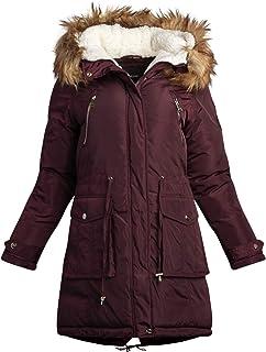 bebe 女式外套 - 加厚保暖长款派克夹克,带人造皮草帽