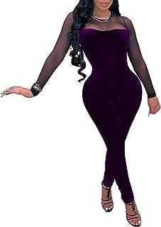 IyMoo 女士性感连体衣 - 紧身连体衣透视网眼长袖连体衣