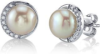 8.5-9mm 纯白淡水养殖珍珠及方晶锆石女士耳环