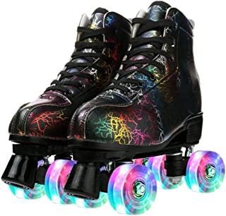 GETSING 女式溜冰鞋,可调节 PU 皮高帮双排溜冰鞋,经典闪亮溜冰鞋,适合初学者、儿童成人和青少年室内和室外使用,带包