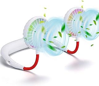 便携式挂脖运动风扇 - 2600 mAh LED 灯免提 USB 可充电个人可穿戴颈带风扇电池供电 3 级气流迷你项链风扇耳机设计冷却头部风扇适用于露营
