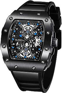 OLEVS 独特男式摇滚手表,酷炫矩形镂空表盘大表盘男士运动手表,橡胶表带,30 米防水,专业石英机芯,精准保存时间