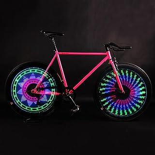 VEOAY 车轮自行车轮胎灯(2 个轮胎包装),较大的图案区域,32 个 LED 防水自行车辐条灯,带 32 个变化彩色图案,适合儿童青少年成人