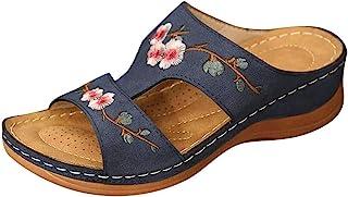 女式刺绣花卉凉鞋夏季舒适坡跟步行凉鞋平底拖鞋