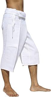RaanPahMuang Brand Plain Polish Linen Thai Fisherman Capri Wrap Pants