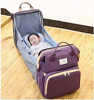 便携式可折叠尿布包婴儿床背包旅行摇篮防水可折叠婴儿床,带旅行床尿布垫婴儿车收纳袋(黑色)