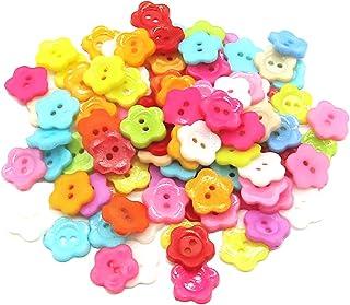 PEPRMROE 100 件 16 毫米多色花朵形状纽扣糖果色纽扣,带 2 个孔,用于缝纫剪贴簿工艺