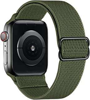SIRUIBO 運動環帶 兼容 Apple Watch 42 毫米 44 毫米,輕質彈力透氣尼龍彈性魔術貼女士男士表帶兼容 iWatch 系列 6/5/4/3/2/1 SE,軍*