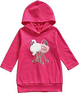 幼儿女孩火烈鸟连帽衫儿童长袖卡通动物印花连帽套头衫运动衫服装