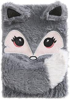 Chris.W Fuzzy Girls 超可爱毛绒狐狸日记写日记日常笔记本,灰色狐狸