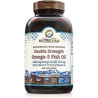 NutriGold Omega-3 鱼油颗粒- 双倍浓度Omega-3鱼油,1400毫克,180粒软胶囊 - 黄金标准…