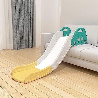 HAPPYMATY 儿童*张滑梯 220 磅(约 99.8 千克)可固定与沙发或床一起使用 轻松设置 儿童室内滑梯无楼梯 适合幼儿男孩女孩(黄色)