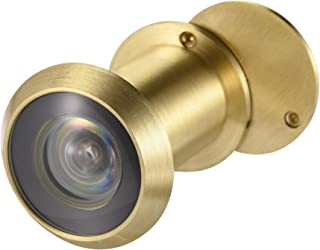 uxcell 黄铜门观众窥镜 220 度带旋转盖适用于 1-3/8 至 2-23/64 英寸门,缎面金色表面