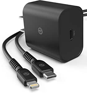Galvanox iPhone 11充电器套装 - Apple MFi认证快速充电USB-C 闪电数据线带快速充电PD墙插头适配器,适用于iPhone 8/8Plus/ SE/X/XS/XR/11/Pro/Max(18W)
