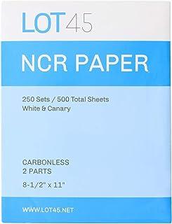 Lot45 NCR 2 部分无碳纸 - 27.94 x 21.59 cm 可打印碳无酸纸,250 套白色和淡黄色发票纸