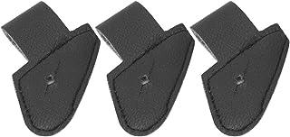 3 件/套黑色人造皮革吉他带扣支架,端针拾音器插孔固定带扣,吉他工具