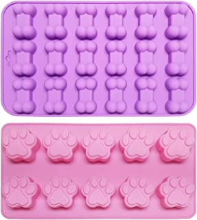 小狗爪子和骨硅胶模具,用于制作巧克力、冰块、糖果、果冻、饼干糖果、狗零食(2 件/套)