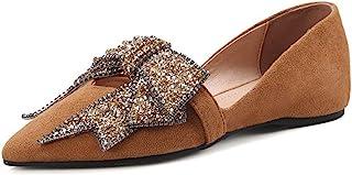 LaRosa 大号蝴蝶结水钻平底乐福鞋 棕色