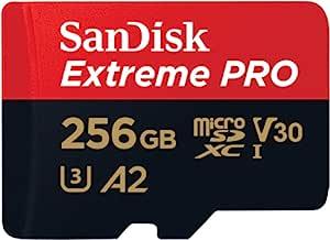SanDisk 闪迪 Extreme Pro 256 GB microSDXC 内存卡 + SD 适配器 带 A2 应用程序性能 + Rescue Pro Deluxe 170 MB/s Class 10,UHS-I,U3,V30,红色/金色 SDSQXCZ-256G-GN6MA