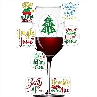 FaCraft 葡萄酒玻璃马克笔,18 件有趣的圣诞葡萄酒玻璃贴纸,适用于葡萄酒配饰圣诞节派对礼品用品替代葡萄酒饰品