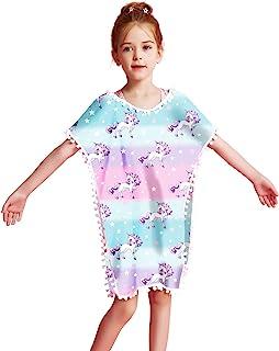Qancy 女孩彩虹独角兽泳衣罩衫沙滩绒球流苏连衣裙
