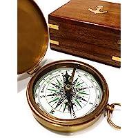 NauticalMart 黄铜罗盘 玫瑰木盒 雕刻诗指南针 手工洗礼礼物 *佳复活节、生日、母亲节、父亲节、毕业礼物、婚…