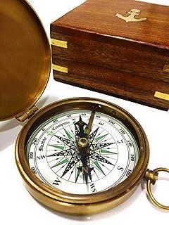 NauticalMart 黄铜罗盘 玫瑰木盒 雕刻诗指南针 手工洗礼礼物 *佳复活节、生日、母亲节、父亲节、毕业礼物、婚礼礼物