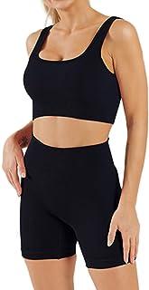 RuuKarm 女式健身套装 2 件套无缝露脐背心高腰短裤瑜伽紧身裤套装