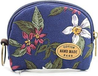青年棉质手工钱包花朵图案拉链手提包 robin 蓝