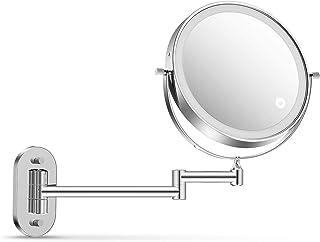 alvorog 壁挂式化妆镜,3 色照明模式,双电源触摸屏灯,可调定时功能化妆镜,1X/5X 放大,360° 旋转化妆镜 - 8 英寸(约20.32厘米)