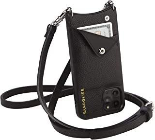 Bandolier Emma 斜挎包手机套和钱包 - 黑色皮革银色细节 - 仅兼容 iPhone 12 Pro Max