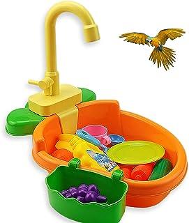 鸟鹦鹉浴盆,鸟浴碗带喷泉泵鹦鹉自动浴缸带水龙头鸟淋浴浴缸鸟类喂食碗鹦鹉适用于小型中长鹦鹉,Lovebird,Goldfinch(橙色)