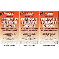 Ferrous Drops 铁补充剂 薄荷味 适用于Enfamil Fer-in-Sol 铁补充滴剂 适用于婴儿、幼儿和儿童量滴管 每瓶 50 毫升 3 件装