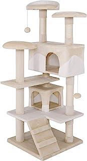 dibea KB00301 猫抓板 - 猫爬架(高 130 厘米) beige/weiß 130 cm