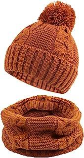 JANGANNSA 冬季针织婴儿帽扭保暖无檐小便帽 适合男孩女孩婴幼儿婴儿无檐小便帽 带绒球