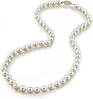 THE PEARL SOURCE 14K 金 6.5-7.0mm 圆形正宗白色日本 Akoya 海水养殖珍珠项链 50.80cm 成熟女士长度