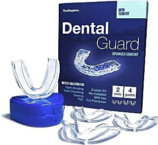 Toothspace 细长牙齿护齿器 适用于睡觉时磨牙 | 定制夜间护齿器可缓解 TMJ * | 可塑型牙套可防止磨牙和牙齿夹紧 - 4 件装,2 种尺寸