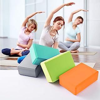 瑜伽砖高*EVA泡沫砖支撑无乳胶柔软防滑表面用于锻炼瑜伽普拉提冥想辅助平衡(粉色)