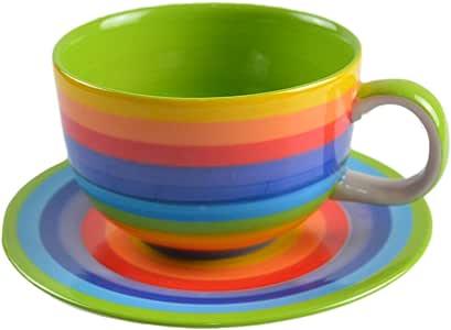CinMin 彩虹条纹多色陶瓷咖啡杯,2 件套 Large w/Saucer CinCupCof0
