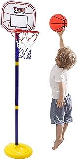 SEISSO 篮球篮适用于 1-4 岁儿童,支架可调节高度 2-5 英尺迷你室内户外篮球目标玩具游戏,带球和泵,适合 1-4 岁的男女宝宝