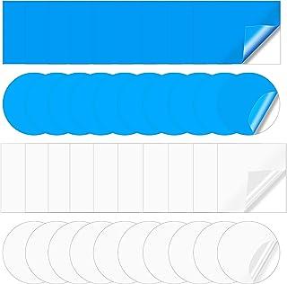 Wehhbtye 40 件自粘 PVC 修补贴片 - 塑料泳池衬垫贴片,船修补乙烯基橡胶,用于充气游泳圈泳池船帆皮艇(方形圆形蓝色透明)