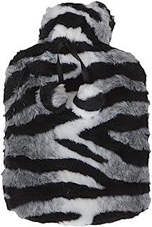 大号热水瓶带人造毛皮套奢华斑马动物印花黑色白色绒球适用于冬季夜晚热疗床沙发舒适*可拆卸 2 升天然橡胶 34 厘米