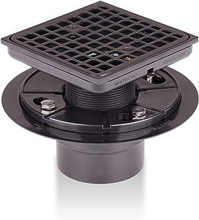 瓷砖式淋浴地漏方形带淋浴排水格栅和 ABS 排水底座,适用于浴室、厨房(Mission NB)
