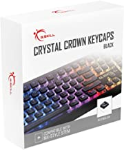 G.SKILL 水晶皇冠键帽 - 带透明层的键盘套,适用于机械键盘,全104键,标准 ANSI 104 英语(美国)布局 - 黑色