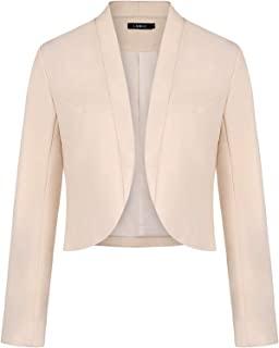 女式 Blazers 长袖剪裁外套全内衬无领休闲办公夹克